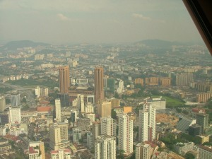 Times Square from the KL Tower (orange buildings)
